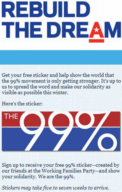 MoveOn.org The 99% Rebuild The Dream Free Sticker - US