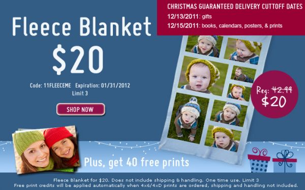York Photo $20 Collage Fleece Blanket (Save $22.99!) and Get 40 Free Prints - Exp. January 31, 2012