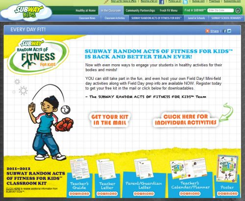 Subway Kids Subway Random Acts of Fitness Kit For Teachers