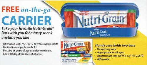 Free Kellogg's Nutri-Grain On-The-Go Carrier Case from SnackPicks.com - US
