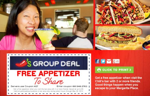 Free Printable Coupon for Free Appetizer When You Visit Chili's Bar with 2 or More Friends - Exp. May 30, 2012
