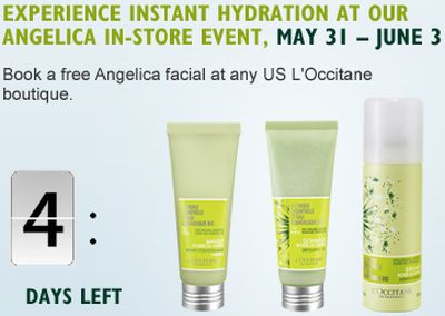 Free Angelica Facial at any US L'Occitane Boutique from May 31 to June 3, 2012 - US