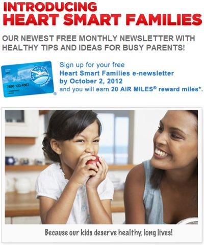 Heart & Stroke Foundation Heart Smart Families Monthly Newsletter Free 20 Air Miles Reward Miles - Canada