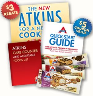 Atkins Free Quick-Start Kit and 3 Free Atkins Bars with a Free Recipe Book