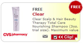 CVS Pharmacy Free Printable Coupon for a Free 3oz. Trial Size Clear of Clear Scalp and Hair Therapy Total Care Nourishing Shampoo