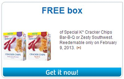 Kellogg's Free Coupon for a Free Box of Special K* Cracker Chips Bar-B-Q or Zesty Southwest - Canada