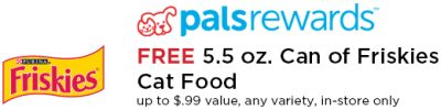 Petco PalsRewards Free Prinatble Coupon for Free 5.5 oz. Can of Purina Friskies Cat Food - Exp. February 28, 2013