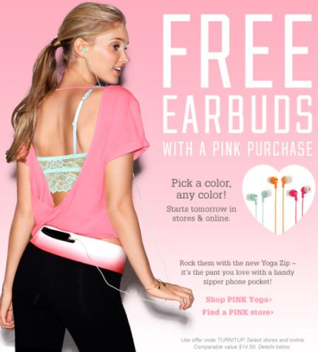 Victoria's Secret Free Earbuds with a Pink Purchase - January 15 - 21, 2012, Canada and US