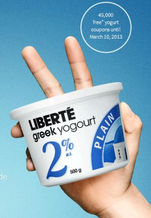 Liberte Free Product Coupons for Greek Yogurt via Facebook - 5,000 a Day, Exp. March 10, 2013, Canada