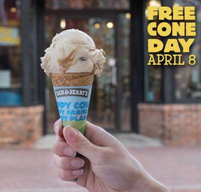 Ben & Jerry's Ice-Cream Free Cone Day on April 8, 2014