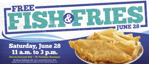 Long John Silvers Free Fish & Fries on June 28, 2014 from 11 a.m. to 3 p.m.