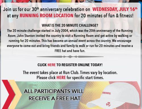 Running Room 30th Anniversary 20 Minute Challenge Free Hat - Canada