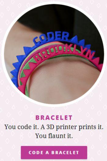 MadeWithCode.com Google Free 3D Printer Bracelet