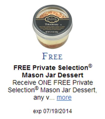 Kroger and Affiliates Free Private Selection Mason Jar Dessert - Exp. July 19, 2014