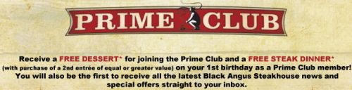 Black Angus Steakhouse Prime Club Free Dessert - US