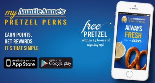 Auntie Anne's Free Pretzel When Downloading Their App
