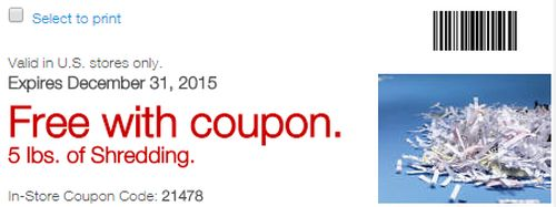 Staples Printable Coupon for Free 5 lbs and 1lb of Free Shredding - Exp. December 31, 2015
