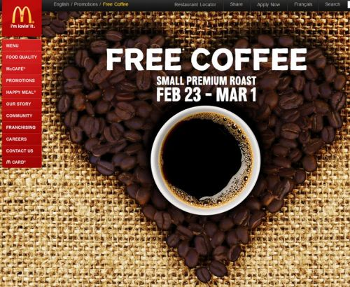McDonald's Free Small Coffee - February 23 to March 1, 2015, Canada