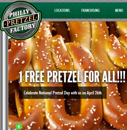 Philly Pretzel Factory Celebrate National Pretzel Day Free Pretzel on April 26, 2015 - US