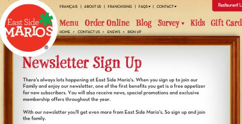 East Side Mario's Free Appetizer for Newsletter Subscription - Canada
