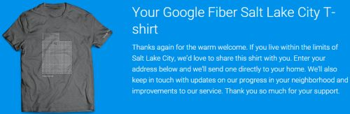 Google Fiber Salt Lake City Free T-Shirt for Salt Lake City Residents