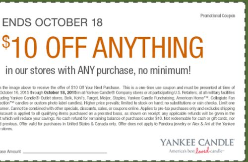 photo regarding Yankee Candle Coupons Printable identify Yankee Candle Printable Coupon in the direction of Preserve $10 off within just Outlets