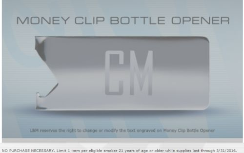 L&M Free Money Clip Bottle Opener – Ages 21+, Smokers, US