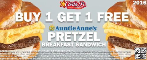 picture about Carls Jr Coupons Printable identified as Carls Jr. Printable Coupon for Purchase 1 Obtain 1 Absolutely free Auntie