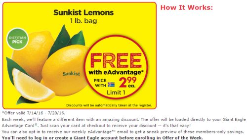 Giant Eagle One Pound Bag of Lemons