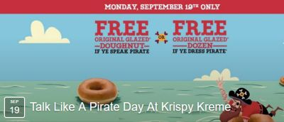 Krispy Kreme Talk Like a Pirate Day Doughnuts