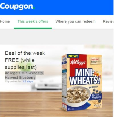 Coupgon App Free Kellogg's Mini-Wheats Harvest Blueberry - Canada