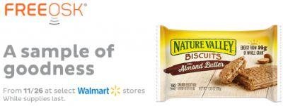 Freeosk Free Nature Valley Almond Butter Biscuit Sample at Walmart Stores - November 26, 2016, US