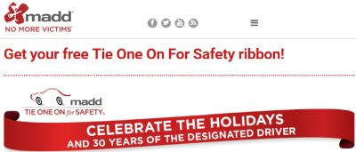 MADD Ribbon Free Special-Edition Tie One On For Safety - US