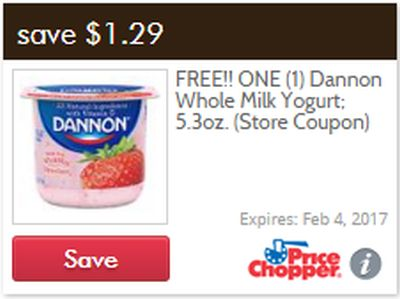 Price Chopper Coupon for One Free Dannon Whole Milk Yogurt - Exp. February 4, 2017, US