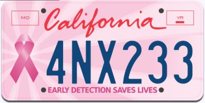 California Free Pink License Plate for One Year - California Only