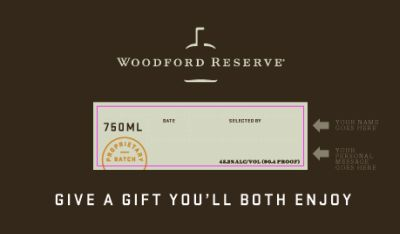 Woodford Reserve Bourbon Free Personalized Labels - Legal Drinking Ages, US
