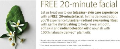 Aveda Free Tulasara 20-Minute Facial for Redeeming Coupon at Store - Exp. June 30, 2017