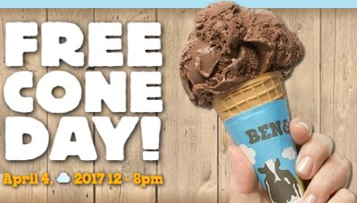 Ben & Jerry's Free Cone Day on April 4, 2017 from 12 p.m. - 8 p.m. at Scoop Shops around the World