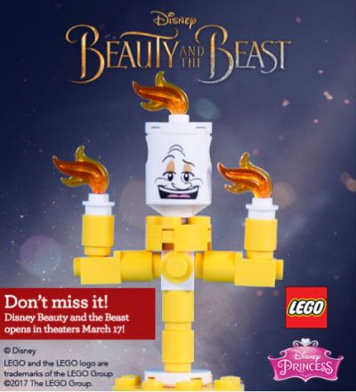 Toys R Us Free LEGO Disney Lumiere Character of Beauty and the Beast on March 25, 2017