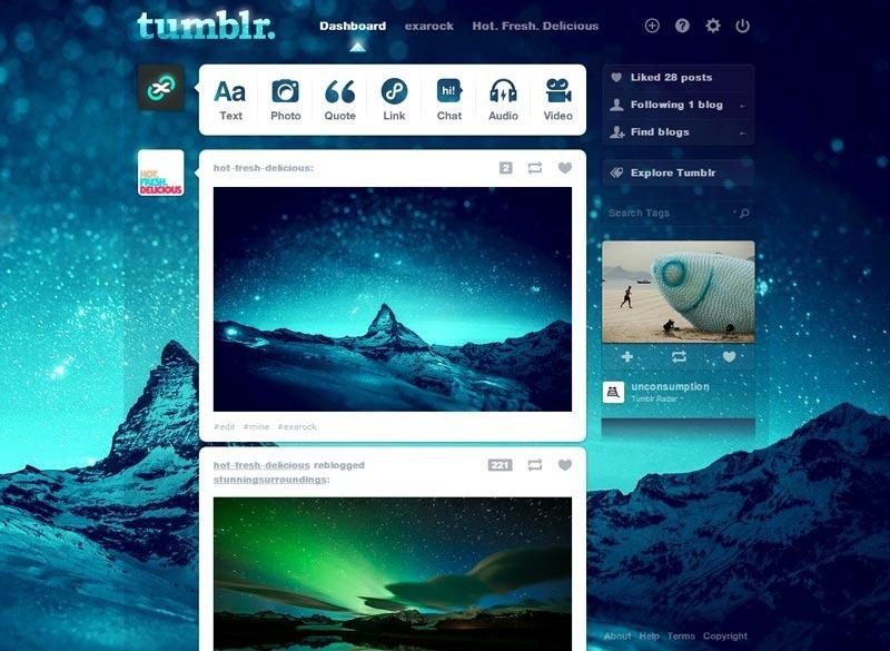 Tumblr dashboard theme - Milky Way - FreeStyler.WS