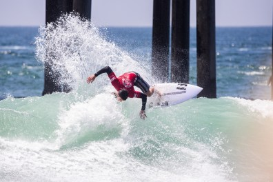 HUNTINGTON BEACH, UNITED STATES - AUGUST 4: Liam O'Brien of Australia advances to the Final of the 2019 VANS US Open of Surfing after winning Semifinal Heat 2 at Huntington Beach on August 3, 2019 in CA, USA. (Photo by Jenny Herron/WSL via Getty Images)