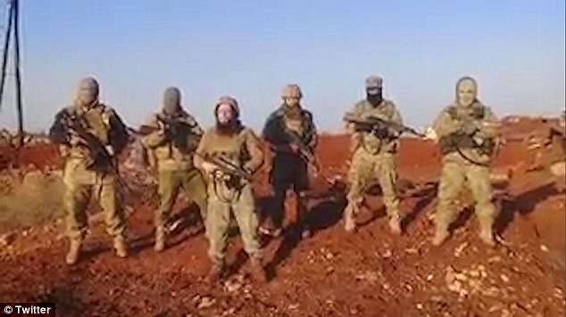 London-born Lucas Kinney, 26, addresses the camera in Arabic as he stands in front of a group of jihadi fighters in a new propaganda video