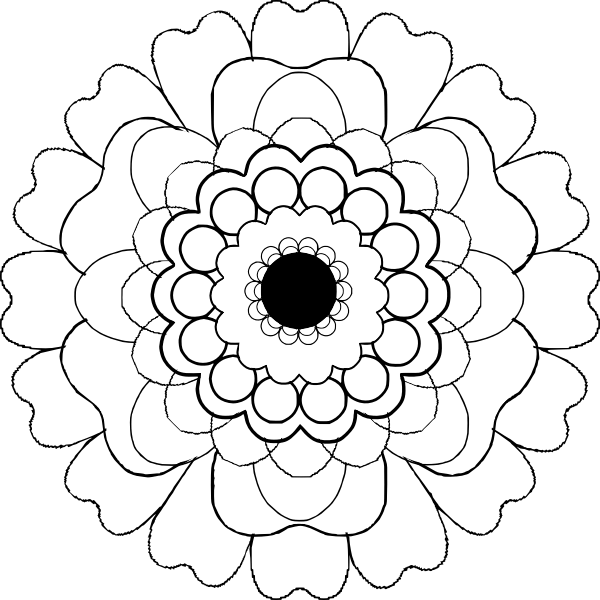 Blooming Black And White Flower Vector Clip Art Free Svg
