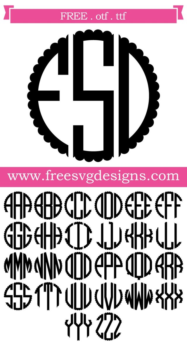 Free SVG Files | SVG, PNG, DXF, EPS | Scalloped Monogram Font