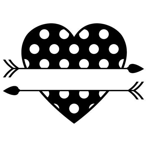Polka Dot Split Love Heart Arrows SVG