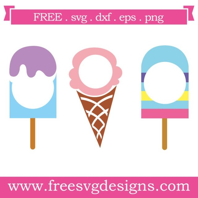 Free ice cream monogram frame at www.freesvgdesigns.com. FREE downloads includes SVG, EPS, PNG and DXF files for personal cutting projects. Free vector / printable / free svg images for cricut