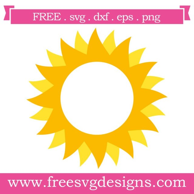Free sun monogram frame at www.freesvgdesigns.com. FREE downloads includes SVG, EPS, PNG and DXF files for personal cutting projects. Free vector / printable / free svg images for cricut