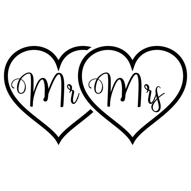 Mr Mrs Love Hearts SVG