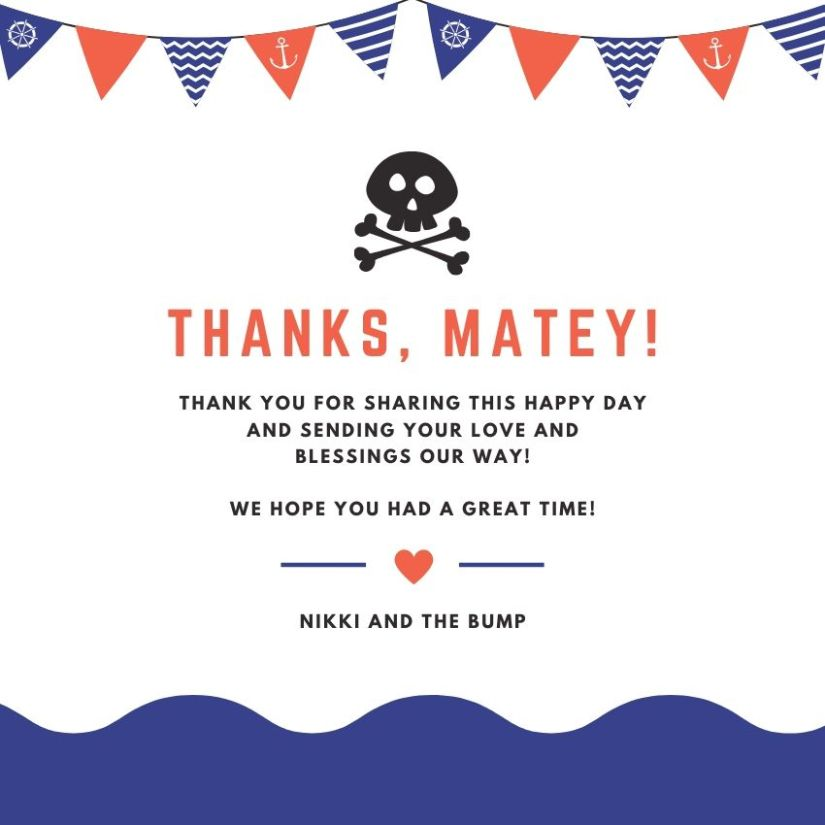 Nautical-themed baby shower thank you notes