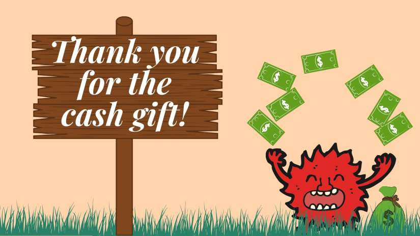 """Card showing a little red monster smiling and throwing money into the air. The card says """"Thank you for the cash gift!"""""""